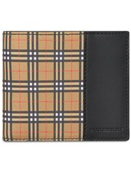 Burberry Small Scale Check And Leather Bifold Wallet Nude And Neutrals