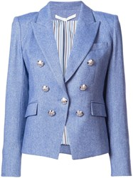 Veronica Beard Double Breasted Blazer Blue