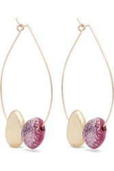Dinosaur Designs Small Mineral Gold Filled Resin Hoop Earrings Fuchsia