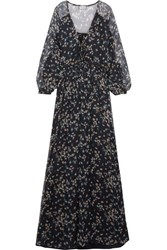 Paul And Joe Floral Print Crinkled Silk Chiffon Maxi Dress Blue