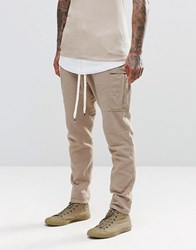 Asos Drop Crotch Joggers In Lightweight Fabric With Cargo Pockets In Sand Soft Sand Beige