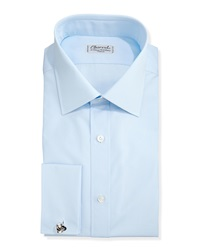 Charvet Solid Poplin French Cuff Shirt Light Blue