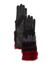 Agnelle Leather Gloves With Rabbit Fur Cuff Black Multi