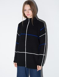 Pixie Market Oversize Stripe High Neck Sweater