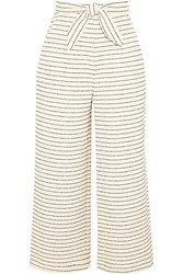 Mara Hoffman Cropped Striped Basketweave Cotton Blend Wide Leg Pants Cream