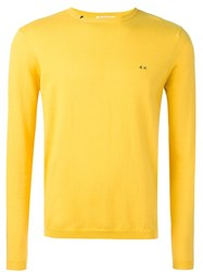 Sun 68 Crew Neck Jumper Yellow Orange