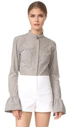 Frame Striped Fitted Poplin Shirt Sage Multi