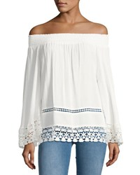 Romeo And Juliet Couture Smocked Off The Shoulder Blouse White