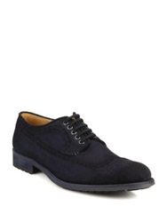 Saks Fifth Avenue By Magnanni Suede Antiqued Lace Up Shoes Navy