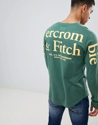 Abercrombie And Fitch Pocket Logo Back Sleeve Print Long Sleeve Top In Green