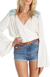 Billabong Women's New Ways Embroidered Bell Sleeve Top