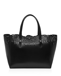 Reiss Hollie Laser Cut Leather Tote Black