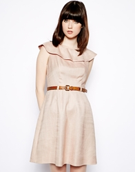 Orla Kiely Basket Weave Dress With Frilled Collar Pink