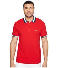 Lacoste Short Sleeve Semi Fancy Slim W Textured Stripe Collar Slim Red Legion Blue Men's Clothing Pewter