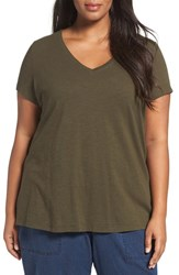 Eileen Fisher Plus Size Women's Organic Slub Cotton Jersey Tee Surplus