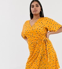 Pink Clove Mini Wrap Dress With Flutter Sleeves In Ditsy Print Yellow