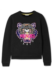 Kenzo Embroidered Cotton Jersey Sweatshirt Black