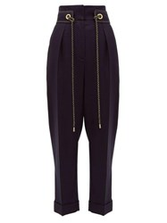 Peter Pilotto Cropped High Rise Tweed Trousers Navy