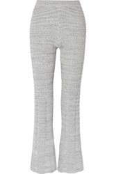 Elizabeth And James Joan Ribbed Cotton Blend Flared Pants Gray