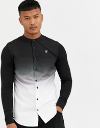 Sik Silk Siksilk Muscle Fit Grandad Collar Long Sleeve Grandad Shirt In Faded Black
