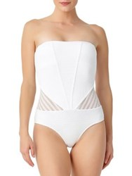Anne Cole Two Way Crochet One Piece Swimsuit White