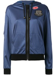 Mr And Mrs Italy Hoodie With Patches Women Cotton Spandex Elastane Viscose M Blue