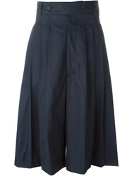 Alexander Mcqueen Pleated Tailored Shorts Blue