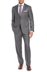 Hickey Freeman Classic B Fit Solid Wool Suit Grey Sharkskin