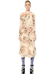 Rochas Ruffled Floral Print Silk Chiffon Dress