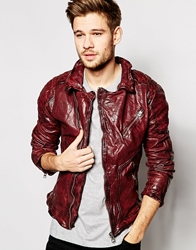 Pepe Jeans Pepe Leather Jacket 73 Bandon Slim Fit Biker Re1red1