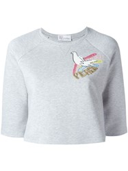 Red Valentino Cropped Embroidered Sweatshirt Grey
