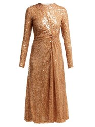 Galvan Pinwheel Sequinned Midi Dress Nude