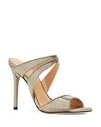 Halston Heritage Brittney High Heel Slide Sandals Gold
