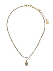 Alexander Mcqueen Crystal Beetle Necklace Gold