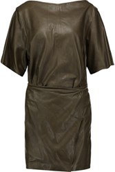 Isabel Marant Falco Wrap Effect Leather Mini Dress Army Green
