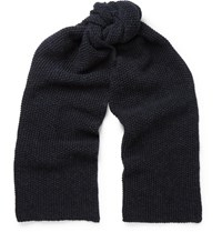 The Workers Club Moss Stitched Merino Wool Scarf Blue