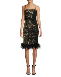 Milly Elle Sequin Velvet Feather Hem Dress Gold