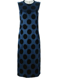 Toga Pulla Circle Applique Midi Dress Blue