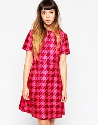House Of Holland Gingham Panel Dress Pink
