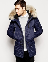 Spiewak Parka With Faux Fur Trim Blue