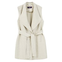 Mango Violeta By Long Linen Blend Vest Jacket Light Beige