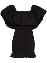 Solid And Striped Ruffle Trimmed Shirred Mini Dress Black