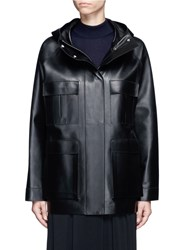 The Row 'Dusa' Hooded Leather Coat Black