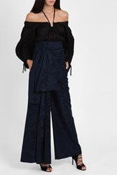 Rosie Assoulin Women S High Waisted Sash Trousers Boutique1 Navy