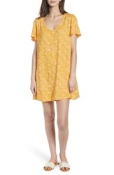 Hinge Throw On Minidress Yellow Gleam Floral Stencil