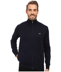 Lacoste Segment 1 Full Zip Jersey Sweater Navy Blue Men's Sweater