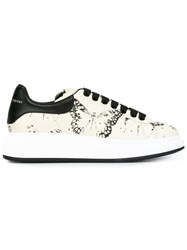 Alexander Mcqueen Extended Sole Moth Print Sneakers Nude And Neutrals