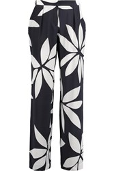 Issa Cerys Printed Silk Straight Leg Pants Blue