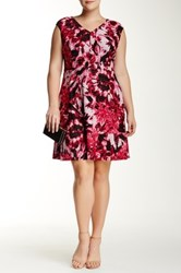 Maggy London Floral V Neck Fit And Flare Dress Plus Size Pink