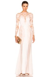 Zuhair Murad Embroidered Long Fitted Dress In Pink